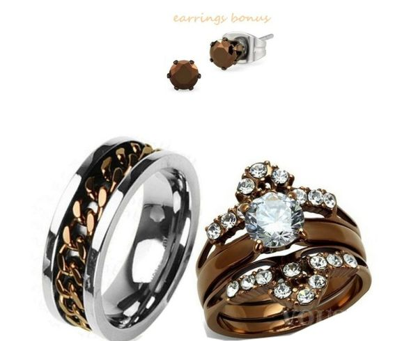 Titanium And Chocolate Cz Stainless Steel Engagement Wedding Ring Set