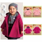 Toddler Kids Baby Girl Winter Trench Coat Hooded Button