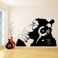 Banksy Vinyl Wall Decal Monkey With Headphones, One Color ...