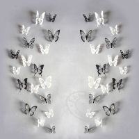 18PCS/Pack 3D Butterfly Adhensive Wall Stickers Decal PVC ...