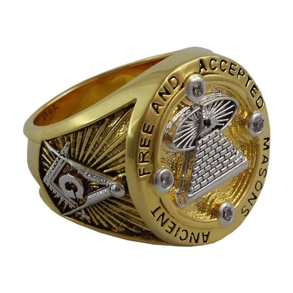 Masonic Mens Ring Eye Ancient Free And Accepted