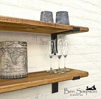 Rustic Thin Industrial Shelf Shelves Metal Brackets Solid ...