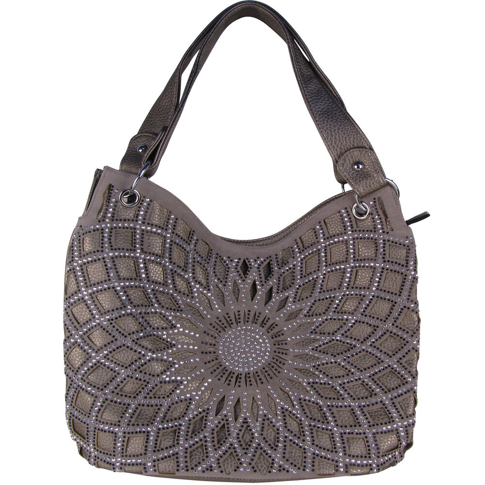 GRAY FLOWER LASER CUT DESIGN LOOK SHOULDER HANDBAG BLING