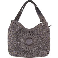 GRAY FLOWER LASER CUT DESIGN LOOK SHOULDER HANDBAG BLING ...