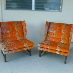 Milo Baughman Dining Chairs Front Porch Chair Pair 60's Dunbar Edward Wormley Winged Club W Jack Lenor Larsen Fabric | Ebay