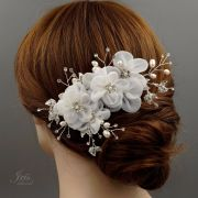 bridal hair comb white silk flower