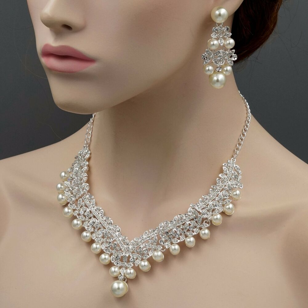 Silver Plated Pearl Crystal Necklace Earrings Bridal