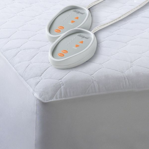 Heated Mattress Pad Bed Warmer Dual Control Quilted Blend
