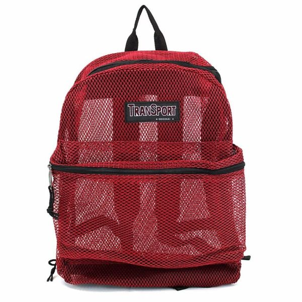 Red Transport Mesh Backpack Book Bag Student