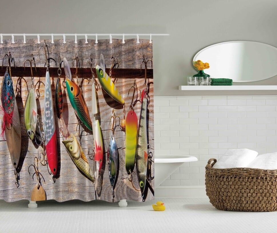 Colorful Fish Wooden Deck Graphic Shower Curtain Lures
