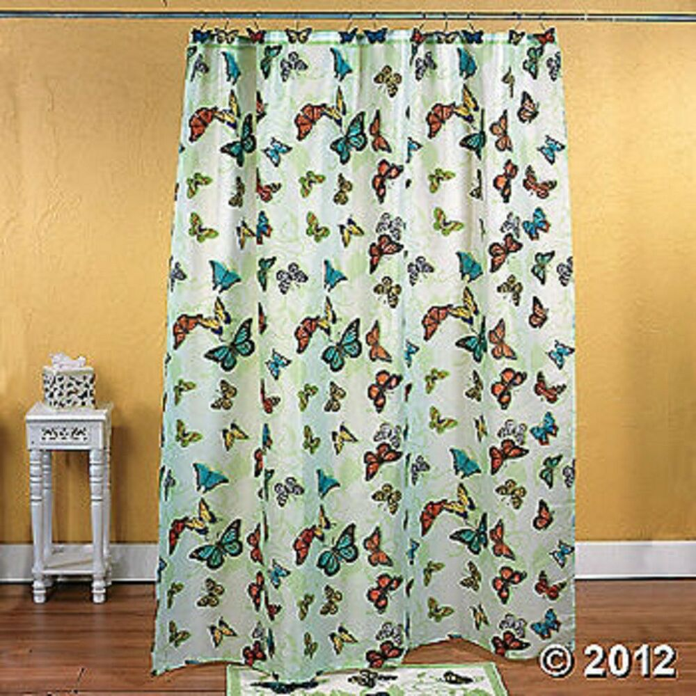 Butterfly Shower Curtain Green Colorful Bathroom Decor 12