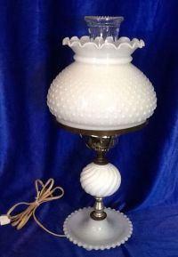 Vintage Fenton Hobnail White Milk Glass Electric Hurricane ...
