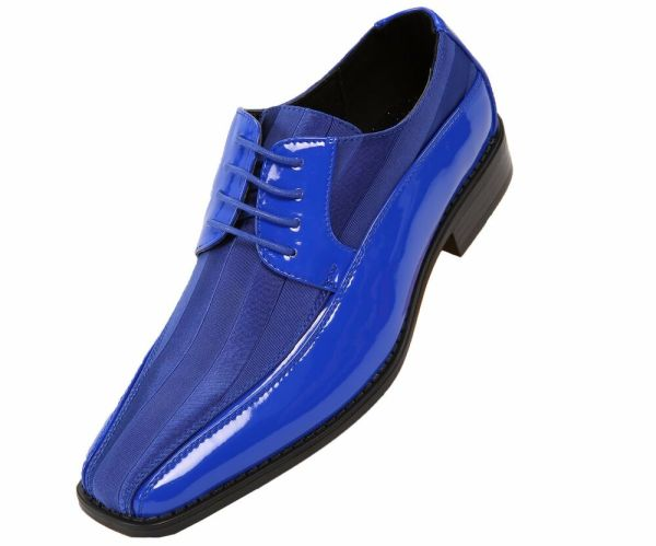 Viotti Mens Royal Blue Patent Dress Oxford With Striped Satin Shoe Style 179-052