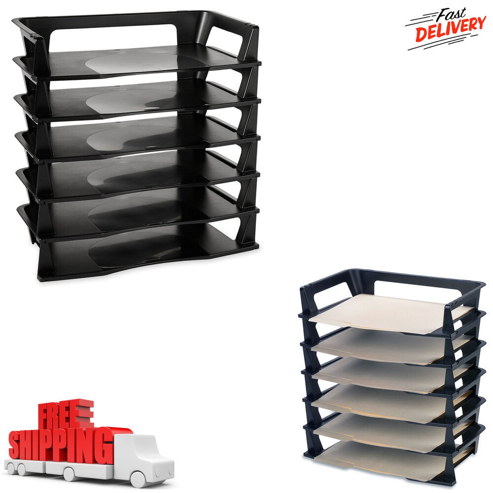 6 Pack Stackable Letter Tray Desk Office File Document