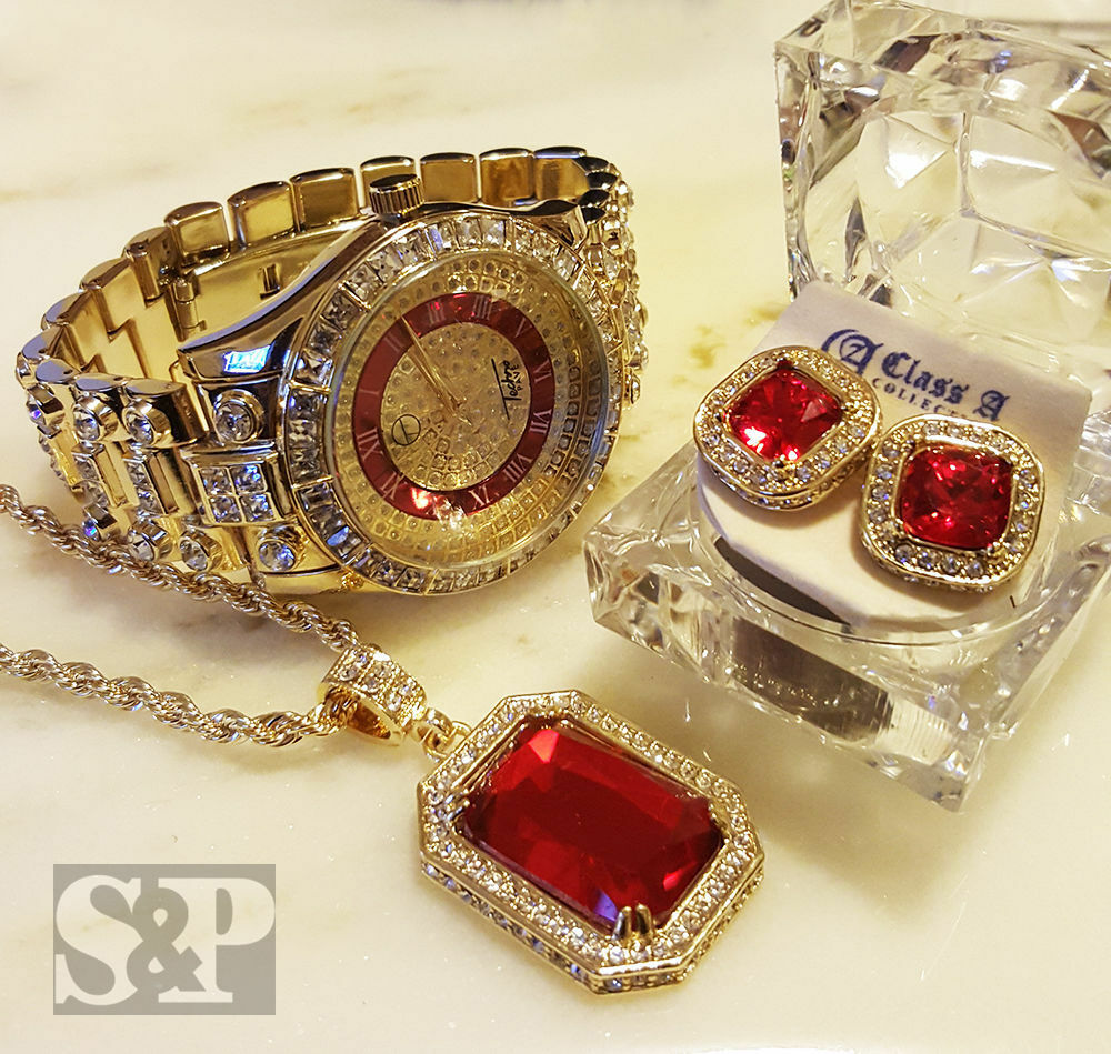 MEN HIP HOP ICED OUT GOLD RICK ROSS WATCH & RUBY NECKLACE