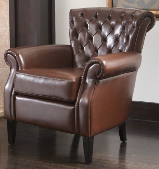 christopher knight leather chair nailhead trim tufted brown bonded club accent chairs arm armchairs armchair new | ebay