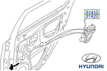 Genuine Hyundai Rear Door Latch RH Drivers Side