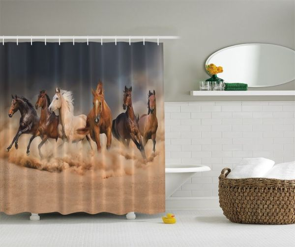 Majestic Galloping Horses Graphic Shower Curtain Western