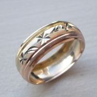 14K SOLID TRICOLOR GOLD MEN'S/ WOMEN'S WEDDING BAND RING 5 ...