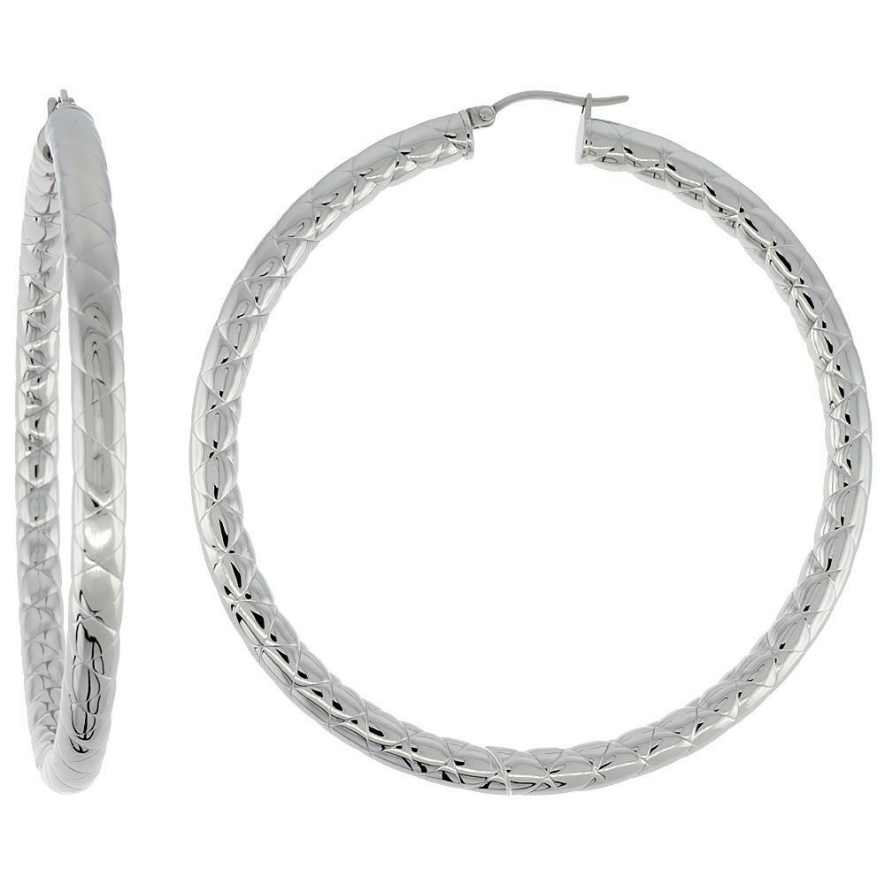 Surgical Steel Tube Hoop Earrings 3 inch Round 4 mm wide