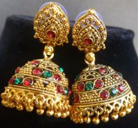 South Indian Bridal Antique Gold Plated Green Red CZ Stone ...