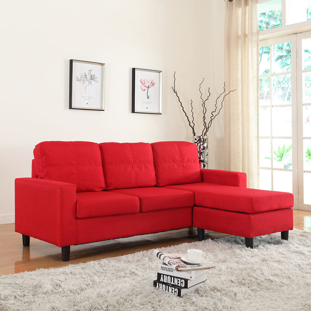 Modern Reversible Red Linen Fabric Small Sectional Sofa Configurable  eBay
