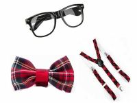 SCHOOL GIRLS RED TARTAN NERD GEEK GLASSES BOW TIE SQUAD ...