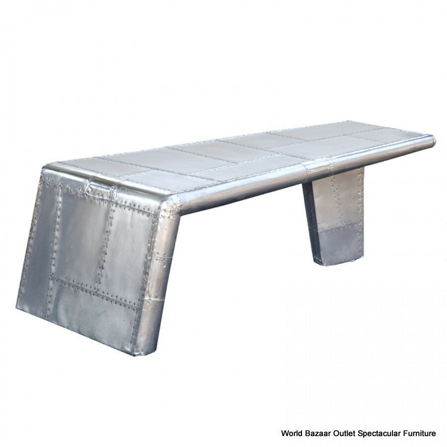 """52"""" Long Aviator Coffee Table Aircraft Wing Aluminum Cool"""