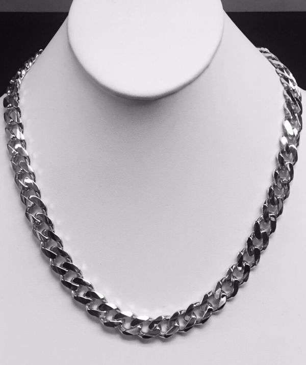 14kt Solid White Gold Handmade Curb Link Mens Necklace 22