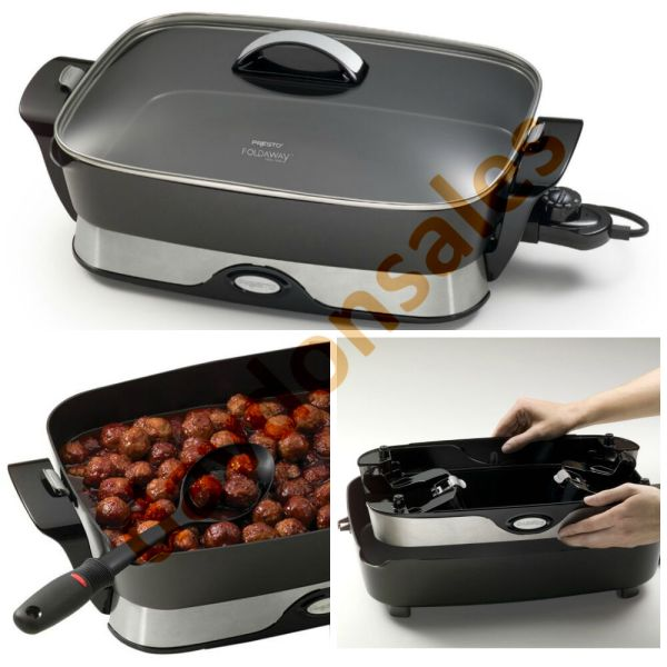 Electric Skillet Fry Pan Frypan Frying Non Stick 16 Lid