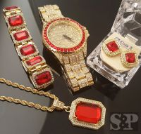 MEN HIP HOP ICED OUT RICK ROSS WATCH & RUBY NECKLACE ...