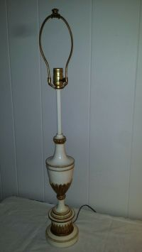 VINTAGE WHITE CREAM ENAMEL & BRASS STIFFEL TABLE LAMP
