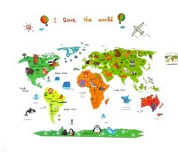 Animal World Map Kids Educational Nursery Wall Art ...