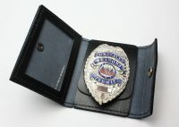 Badge Wallet Black Leather Police Security Concealed Carry ...