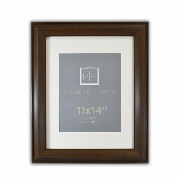 11x14 Brown Color Frame 2- Wide With Ivory Mat 8x10