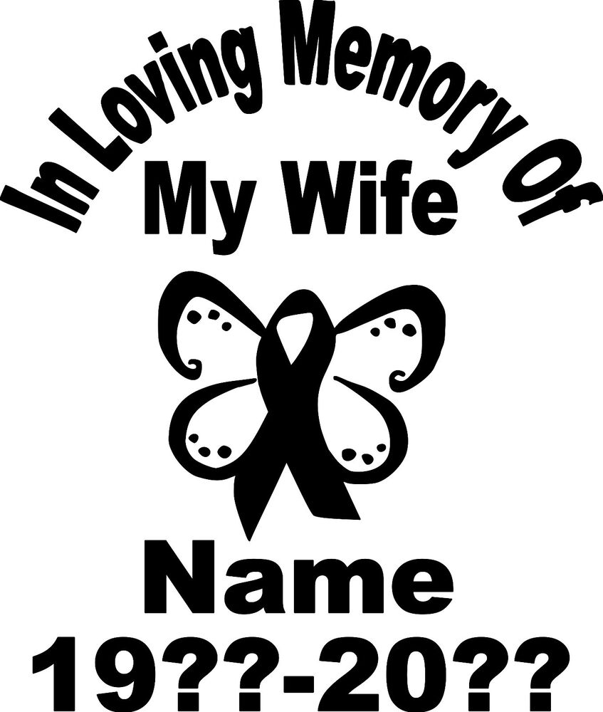 In Loving Memory Cancer Ribbon Butterfly Vinyl Decal