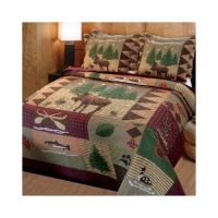 Moose Lodge Quilt Set Log Cabin Bedding Rustic Comforter