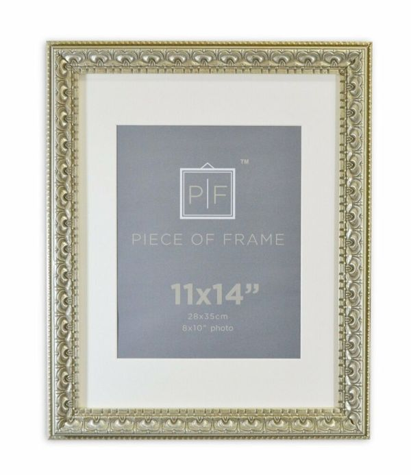 11x14 Ornate Finish Frame Silver Beige Color With Ivory Mat 8x10