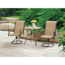 Outdoor 3 Piece Bistro Set Swivel Chairs Table Garden