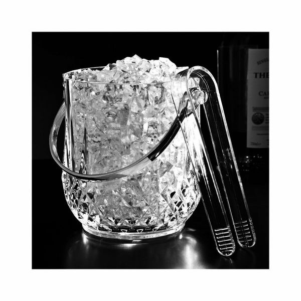 Mini Travel Size Acrylic Ice Bucket Bar Tong Container