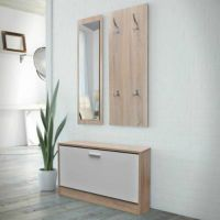 Hallway Furniture Set Shoe Storage Bench Coat Rack Mirror ...