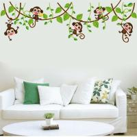 Jungle Monkey Tree Removable Kids Baby Nursery Wall
