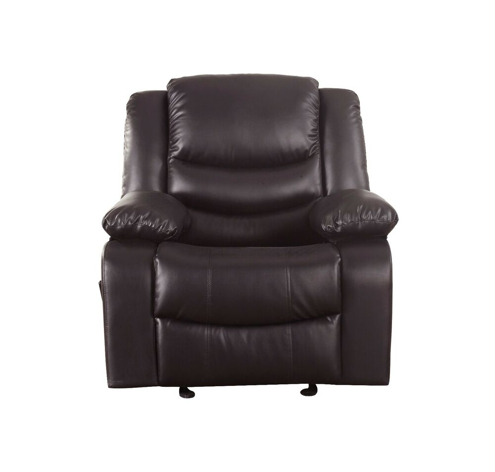 black bonded leather chair sage green dining cushions reclining and rocking plush over stuffed brown - recliner | ebay