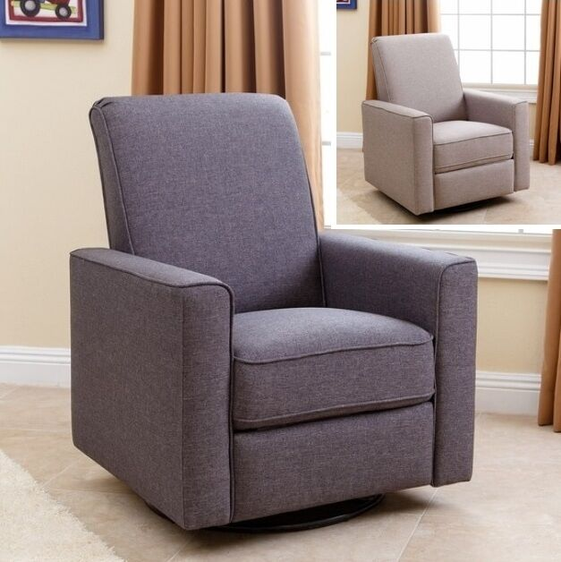 Nursery Taupe Or Gray Swivel Glider Recliner Arm Chair