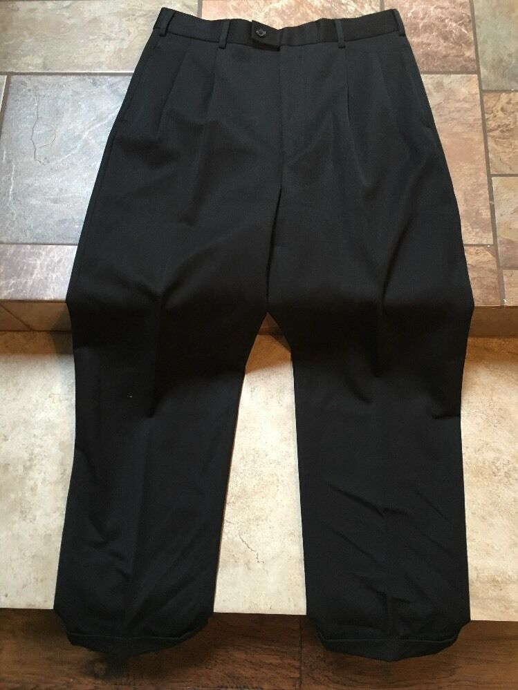 Mens Alberto Celini Black Pleated Dress Pants Sz 33 Inseam 30 Euc EBay
