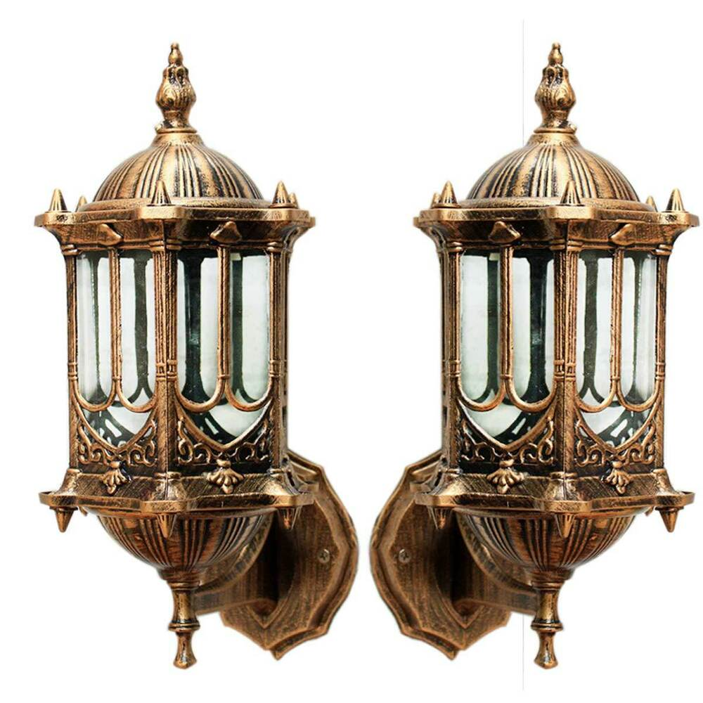 Vintage Antique Brass Wall Lantern Garden Lighting Decor