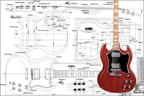 50 S Style Les Paul Wiring Diagram Gibson Sg 174 Full Scale Electric Guitar Plan Ebay