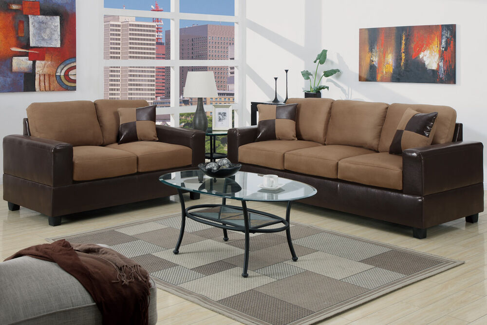 5pc Modern Micro suede Sofa and Love Seat Living Room