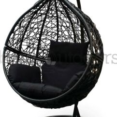 Egg Wicker Chairs Outdoor Portable Swing Hanging Egg/ Pod Chair - Black W Cushions Presale   Ebay