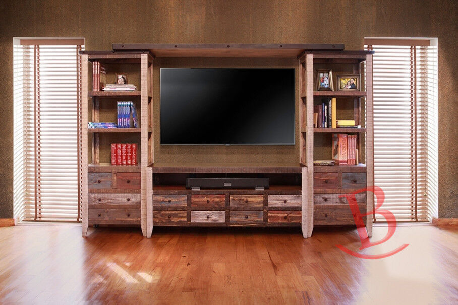 Duffy Entertainment Wall Unit TV Stand Center Media Rustic
